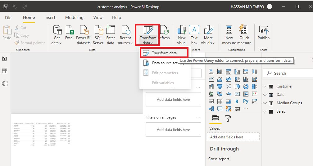 Power BI Renaming Queries Step 1
